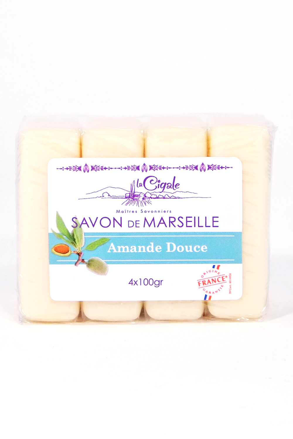 savon de marseille amande douce 4x100g savonnerie la cigale. Black Bedroom Furniture Sets. Home Design Ideas